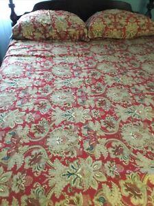 """Ralph Lauren Duvet Cover King size w 2 shams & 2 Pillows Red Tan 97""""x86"""" New"""