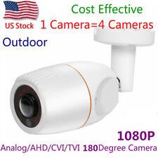 Us stock 2Mp Hd 1080P Ahd Cctv Camera 180 Degree Fisheye 12Pcs Ir leds Bullet