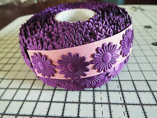 2m -Purple, Daisy Flower Motif,Applique,Trimmings,Wedding -Satin Lace Ribbon