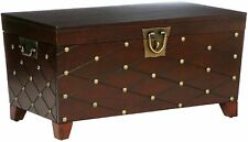 Wooden Coffee Cocktail Table,Golden Nail head Accent Storage Trunk ,Espresso