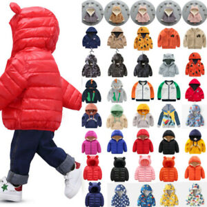 Toddler Baby Kids Boy Girl Winter Hooded Coat Jacket Windbreaker Clothes Outwear