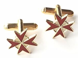 Knights of Malta Crested Red Enamel crested Cufflinks (N70) Gift Boxed