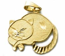 Cat in Sitting Position Pendant in 10k Solid Yellow Gold .60 in x .70 in
