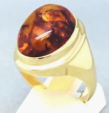 "LARGE 9CT YELLOW GOLD ""AMBER"" SIGNET DRESS RING *UNISEX*  SIZE ""N""  1503"