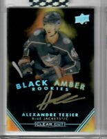 ALEXANDRE TEXIER 2019-20 UD Clear Cut AUTO BLACK AMBER ROOKIES RC Blue Jackets