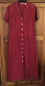 Vtg Eddie Bauer Linen Short Sleeve Button Dress Red Burgundy SZ 12 EXCELLENT
