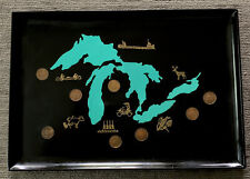 Couroc of Monterey Black Tray Mid Century Inlaid With Mid Western State Coins