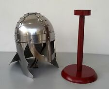 Reenactment Medieval Collectible Knight Viking Armour Helmet With Wooden Stand