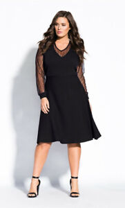 City Chic XS 14 NWT RRP $129.95 Dress Lace Noir Black Knitted