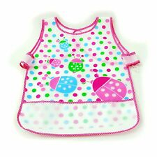 New Waterproof EVA Baby Toddler Easy Wipe Bibs back strap pouch apron Girl