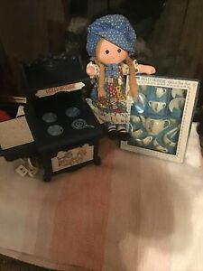 Vintage Hollie Hobbie Original Doll,oven And China Tea Set.