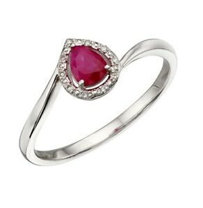 9ct white gold diamond and pear shaped ruby ring - size O.5/56