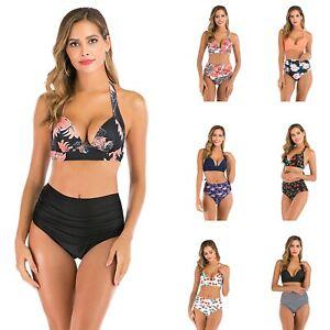 Costume Bagno Bikini Sexy Stampa Multicolore Vita Alta Donna Taglie Forti