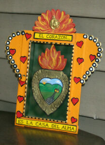 Mexican Mexico hand painted Nicho Home Love Heart Soul Corazon PRICE REDUCED