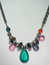 Attractive Chicos Chunky Necklace Glass Charms Prisms Silvertone Spacers
