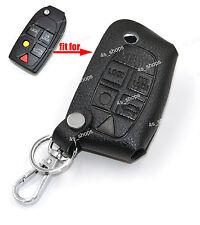 Black Leather Cover Key Case Holder Chain Bag For Volvo C30 C70 S40 V50 V70 XC90