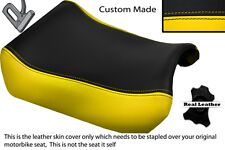 YELLOW & BLACK CUSTOM FITS SUZUKI GSXR 1100 89-98 FRONT LEATHER SEAT COVER