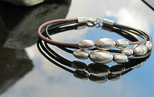 Real Leather Cord Bracelet with 925 Sterling Silver Clasp and Large Oval Beads