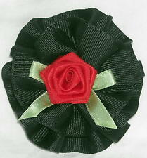 Pretty Black Hair Barrette W/Red Rose and Green Bow Ships Free in the USA