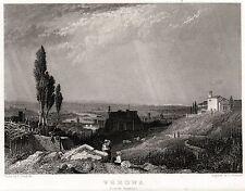 VERONA: Panorama da Colle San Pietro,2. ACCIAIO. Stampa Antica. Certificato.1832