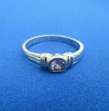 VINTAGE STERLING SILVER RING SET WITH PINK CRYSTAL STONE U K SIZE O. 1.8 g