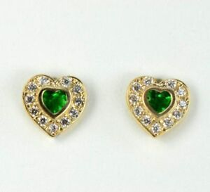 14k Yellow Gold Halo Heart Stud Earrings with Screw Back