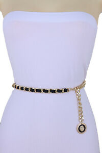 Women Night Wear Fashion Belt Black Gold Metal Chain Drop Lion Charm Size M L XL