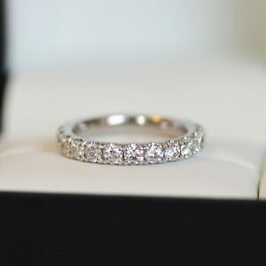 2.10 TCW Round Cut DVV1 Moissanite Band Engagement Ring In 14k White Gold Plated