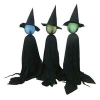 Set of 3 Lighted Color Changing Witch Coven Outdoor Halloween Decoration Prop