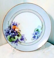 """Collectable~7 1/2"""" Decorative Plate~Made in Japan~Hand Painted~Gold Trim~Purple"""