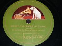 DISNEY 78 rpm RECORD Gramofono ORQUESTA JAZZ MUSETTE JUNIORI Mickey Xylophone ..