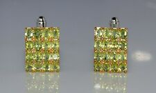 925 Sterling Silver Natural Gem Stone Faceted Peridot Cufflink men's Jewelery