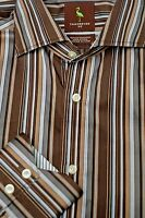 Tailorbyrd Men's Brown Gold & Silver Stripe Cotton Casual Shirt S Small