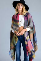 Women's Boho Multi Colored Plaid Long Kimono Shawl Oversized Ruana Cardigan