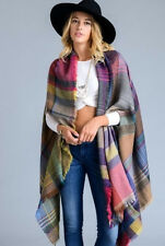 Boho Multi Colored Plaid Long Kimono Wrap w/ Pockets Shawl Oversized Cardigan
