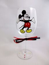 Hand Painted Glass MICKEY MOUSE Yellow Shoes Stemware, Wine Glass