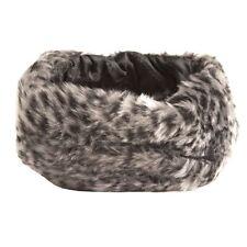 Ladies Winter Warm Faux Fur Leopard Print Headband in Grey