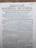 Rare Journal de Paris 1789 Révolution Française Savoyard Savoie Hôtel Monnaies