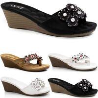 Ladies Wedge Sandals Fancy Summer Dress Heels Comfort Walking Beach Shoes Size
