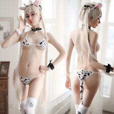 Sexy Mini Cow Bra & G-string Set Bikini Underwear Lolita Lingerie Anime Cosplay