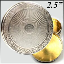 Antique French Sterling Silver and 18k Gold Vermeil Snuff Box, 8 February, 1919