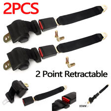 2X Universal Adjustable 2 Point Retractable Auto Car Safety Seat Belt Buckle USA