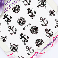 Nail Art Water Decals Transfer Stickers Compass Anchor Manicure Decoration Tips
