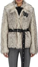 NWT Helmut Lang Faux Wolf Fur Leather Trim Buckle Detail Belted Coat Jacket S