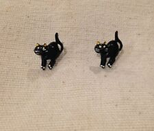TINY SWEETEST-EVER STARTLED ? BLACK CAT EARRINGS - SUIT HALLOWEEN TOO...