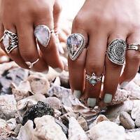 Eg _7pcs / Set Damen Retro Opal Wassertropfen Mond Finger Schlag Ring Schmuck