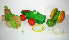 WOOD Wooden STURDY Toy Lot Pull Toys