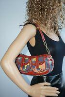 Dooney & Bourke Collector's Banana Bag Denim Red  Handbag Purse Rainbow Zipper
