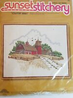 Country Barn Design Crewel Embroidery Kit SUNSET DESIGNS 2481 1977
