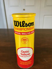 🎾 Vintage Wilson Championship Tennis Ball Can Extra Duty Felt Optic Yellow